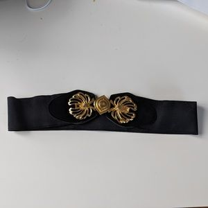 Sexy elastic/suede black and gold belt